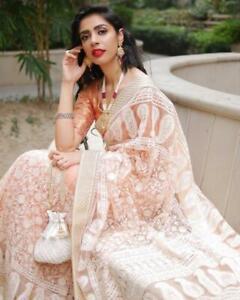 Net Saree Sari women Pakistani Indian Designer Bollywood wedding party girl