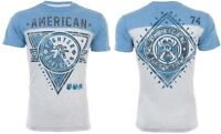 AMERICAN FIGHTER Mens T-Shirt SIENA HEIGHTS Athletic GREY BLUE Gym $40 NWT