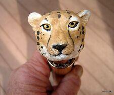 HandMade pecan/OAK *CHEETAH* walking stick copper collar~wild CAT CANE~gift