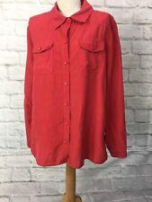 Trent Resort Size 16 Red Button Down Shirt Silk & Linen Blend