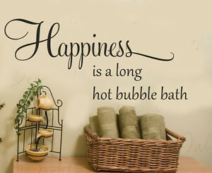Happiness is a hot bubble bath bathroom wall art sticker shower room wall decal