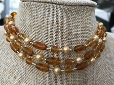 Super Long Necklace of Golden Yellow Glass Beads and Gold Glass Pearls