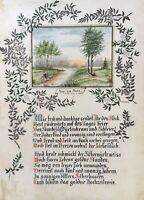 Aquarell Aus der Mark Branddenburg Spruchbild monogrammiert Hochzeit Abendsonne