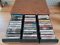 Cassette Tape Collection w/Vintage Case Lot of 36 Tapes Rock, Country, Popular