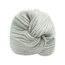Gris Rib Knit Beanie Sombrero Turbante Estilo Acrílico Invierno Accesorio De Moda Para Damas