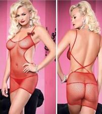Sexy Red DUPU Fishnet BodyStocking Mini Dress Sequin Ribbon One Size 8013 8-10
