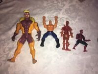 4 x MARVEL LARGE AND SMALL FIGURES HUMAN TORCH SPIDER MAN