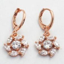 Pretty New Rose Gold Filled Marquis & Round Clear White CZ Drop Dangle Earrings