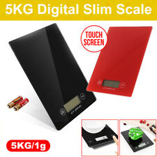 5kg/1g Electronic Portable Digital Glass Kitchen Scale Food Weight Black/Red