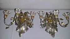 PAIR HAND CARVED WOOD & METAL ITALIAN TOLE WALL CANDLE SCONCES GRAPEVINES GRAPES