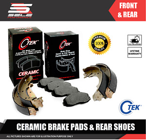 Front And Rear Ceramic Brake Pads + Shoes 2 Sets Fits Toyota Corolla, Geo Prizm