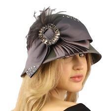 Winter Wool Baguette Bling Ribbon Feathers Cloche Bucket Hat Adjustable Gray