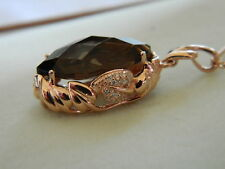Clogau 9ct Rose Welsh Gold 'Ar Dan' Smoky Quartz & Diamond Pendant RRP £1,540.00