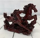 VINTAGE DECORATIVE RED GALLOPING CHINESE HORSES.