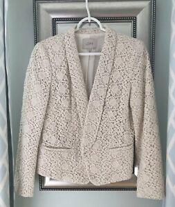 Ann Taylor LOFT Ivory Cream Eyelet Blazer Jacket Size 4 Petite