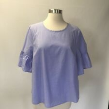 JCrew Button-Back Bell-Sleeve Top Blouse Peri Blue  G2264 Size 12