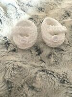 """DOLLS CLOTHES WHITE HAND KNITTED SHOES FIT BABY BORN ANNABELL REBORN 14-17"""""""