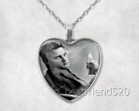 Elvis Presley Photo Tibet Silver Cabochon Glass Heart Pendant Heart Necklace#20