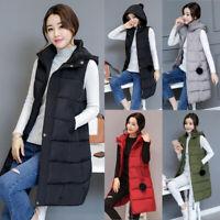 Womens Hooded Down Cotton Vest Waistcoat Long Jacket Sleeveless Coat Winter Warm