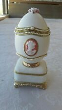"Beautiful new ""Faberge type"" Goose Egg Music Box Jewelry Case Pink Satin Lined"