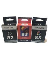 Genuine Lexmark 82 & 83 Ink Cartridge Black & Tri-Color 3 Pack