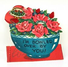 Vtg 40s 50s Valentines Card Ephemera Greeting Bowled Over Floral Roses Flocked
