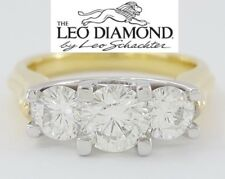 1.45 ct The Leo 18K & Platinum Three Stone Round Cut Diamond Engagement Ring