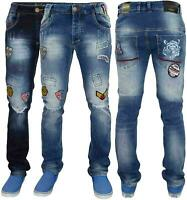 Mens Ripped Jeans Slim Fit Stretch Denim Pants Printed Badges Cotton Trousers