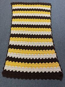 "VTG Handmade Crochet Brown & Yellow Sofa Couch Back Throw Afghan Lap 36x68"""