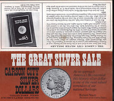 Rare GENUINE US Morgan GSA Silver Dollar Coin Mail Bid Auction Flyer Nixon Hoard