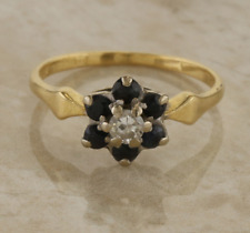 Vintage Sapphire and Diamond Cluster Ring 18ct Yellow Gold Size I 1/2