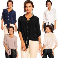 Damen Hemd Bluse zum Binden Spitze Einheitsgröße 36 38 Party Club Büro Top Shirt