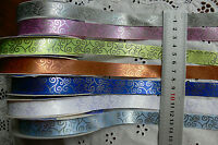 Rococo Scrolled Pattern Satin Ribbon 16mm Wide 2 or 3 metres 7 Colour Choice H5B