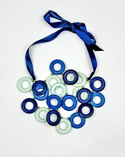 Blue Tones Multi-Rings Wooden Necklace with Ribbon Tie