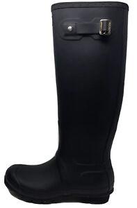 Hunter Original Tall Rain Matte Black Rubber Boots Women's Size 8