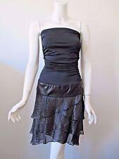 ALICE + OLIVIA Black Ruffle Skirt Stretch Strapless Dress Leather Waist Band 6