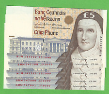 1999 Irish £5 Pound Notes Five In Sequence Consecutive Banknote Ireland C Series