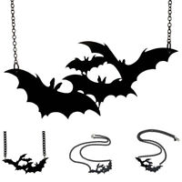Craze Halloween Vampire Skull Skeleton Bone & Large Bat Pendant Necklace Chain