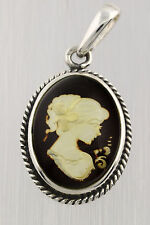 Carved Engraved Cameo Genuine BALTIC AMBER Silver Pendant 5.6g p150125-2