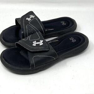 Under Armour 4D Foam Slides Sandals Black YOUTH Size 7 Boys Girls