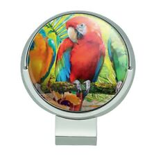 Colorful Tropical Rainforest Parrots Golf Hat Clip With Magnetic Ball Marker