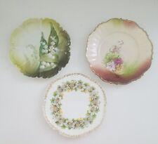 lot of 3 antique vintage plates floral Bavaria Limoges