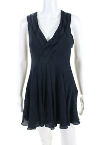 Elizabeth and James Womens Sleeveless V Neck Mini Dress Navy Blue Silk Size 0