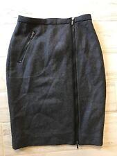 J Crew Asymmetrical Zip Pencil Skirt in Wool Gray Career - Size 0