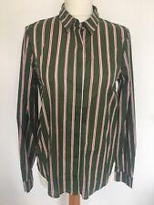 Women's Shirt Green Striped Long Sleeved Top Blouse 100% Cotton Medium 50% Off
