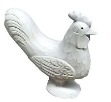 Large White Rustic Chicken Ornament 23cm