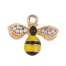 5 GOLD PLATED ENAMEL & RHINESTONE HONEY/BUMBLE BEE CHARMS~Jewellery~Awareness()