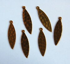 VINTAGE 6 RAW HAMMERED BRASS STAMPING PENDANT BEADS LONG FLAT NAVETTE MARQUIS