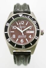 Fossil Defender Watch Mens Day Date Stainless Silver Leather Black 100m Brown