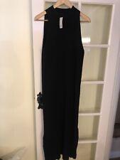 Ladies River Island Black Ribbed Sleevless Dress. New Tagged Uk 16